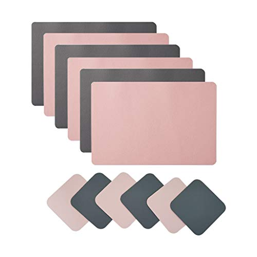 Placemats And Coaster Sets 6, Double Thickened Place Mats Set Of 6 Dining Table Mats And 6 Coasters, Coasters and Placemats for Dining Table, Hotel and Office (Pink + dark gray)