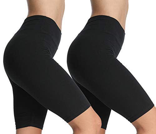 4How 2er Pack Damen Sport Shorts Kurze Leggings Knielang Baumwolle blickdichte Sportwear Sporthose Radlerhose Laufhose Funktionsshorts Schwarz M