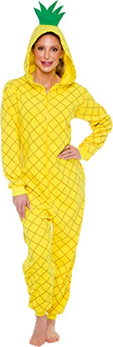 Silver Lilly Pineapple Costume - Adult Fruit Pajamas (Yellow, X-Large)