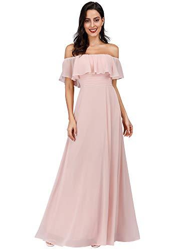 Ever-Pretty Damen A-Linie Abendkleid schulterfrei Rosa 36