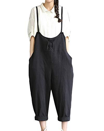 Mujer Baggy Peto, Chicas Mono Largo Pantalones Harem Anchos Talla Grande Casual Moda Bolsillos Tiras Fiesta...