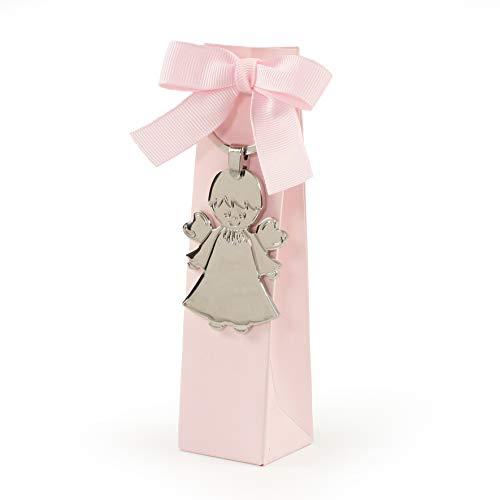Mopec sleutelhanger van metaal engel in roze etui met 5 snoepjes, 36 stuks, 3,50 x 3,50 x 14,00 cm