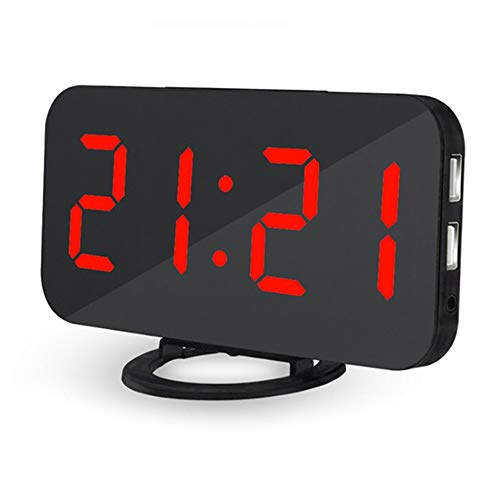 LYLY Reloj despertador de mesa digital de escritorio USB Reloj de mesa LED de carga LED Control de voz Luz de fondo electrónica fácil de configurar (color: rojo)