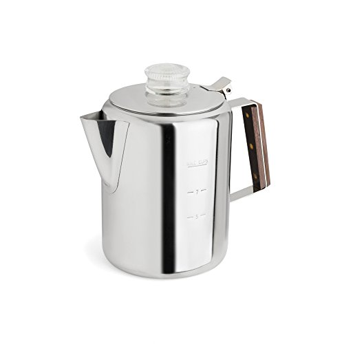 TOPS 55704 Rapid Brew Stainless Steel Stovetop Coffee Percolator, 9-Cup, Metallic