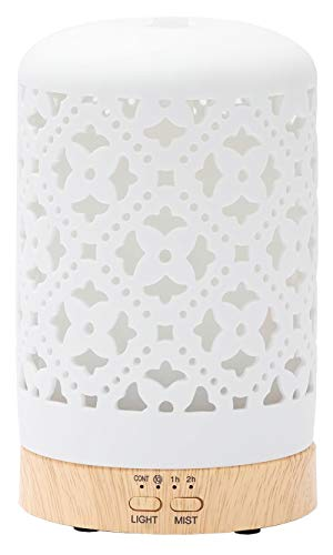 Diffusers for Essential Oils Ceramic Aromatherapy Diffuser in White, Cool Mist Humidifier for Home Office Bedroom, BPA-Free(Floral)