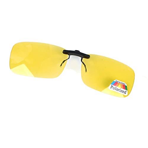 Night Vision Anti Glare Polarized Clip On Driving Glasses Sunglasses UV400 Lens Flip Up