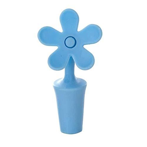 Tapón de vino tapón de silicona para cerveza, tapón de silicona para el hogar, tapón de vino, flor de corcho (color azul)