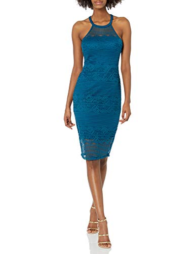 GUESS Women's Lace Illusion Halter Neck Dress, Teal, 14