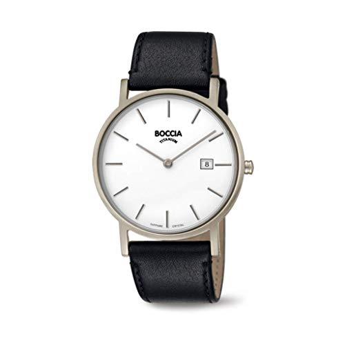 Boccia Herren Analog Quarz Uhr mit Leder Armband 404TT363702