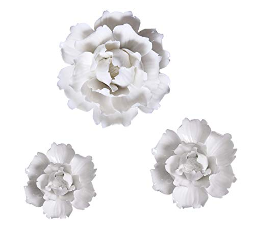 White Peony Ceramic Flower Wall Décor 3D Handmade Wall Art Decoration for Living Room Bedroom Hanging, 3 Pcs Set