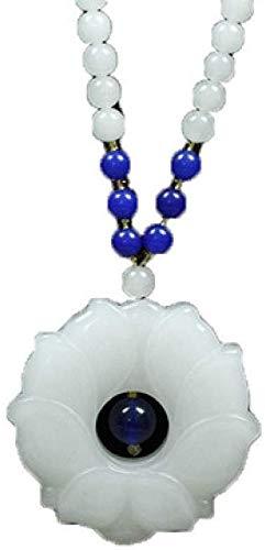 ZSML Collar femenino de Jade Blanco Natural, colgante de Jade de seda Dorada, joyería colgante