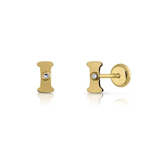 Pendientes oro de 18K, niña / mujer / unisex letra inicial con circón engastada. Medida de la joya 7 mm. Con cierre de presión, (I)