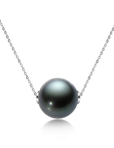 YUN Clock 18K Gold Pearl Pendant 9-10MM Black Tahitian Pearl Pendant Necklace for Women Wife Mom Daughter Fine Jewelry with Gifts Box,B