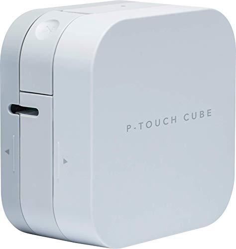 Brother P-Touch Cube PT-P300BT, Etichettatrice con Connettività Bluetooth e Compatibilità MFi, Smartphone e Tablet iOS e Android, Taglierina Manuale, fino a 12 mm, Bianco