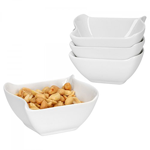 Van Well 4-TLG. Set Schalen Büfett | eckig + wellig | Servier-Schälchen für Snacks, EIS-Creme & Dessert | edles Porzellan | weiß | Gastro