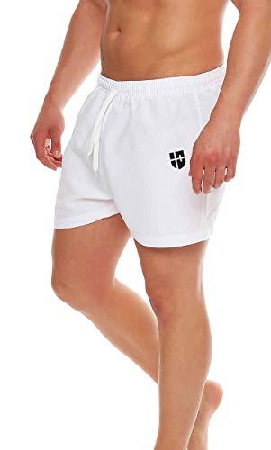 Gennadi Hoppe Herren Badeshorts kurz Badehose Strand Shorts Boardshorts,weiß,Medium