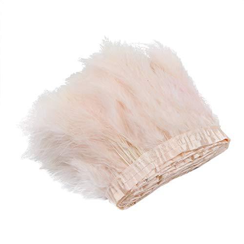 2m Türkei Fluffy Truthahn Handgefertigt Feder Fransen Fringe für Nähen Handwerk Trim zum Nähen Basteln Dekoration - Altrosa, 2 Meters