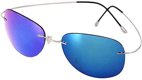 Titanio Ultra Light - Gafas de Sol polarizadas de conducción sin Marco Glasses - Unisex (Color: Plata/Hyun Azul), Nombre de Color: Oro/Azul (Color : Silver/Blue Hyun)