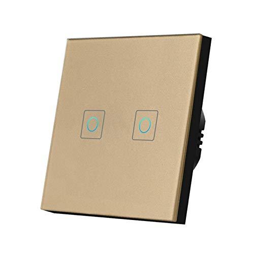 YOBAIH Interruptor táctil Ligero 220V Sensor Lámpara de Pared Interruptor estándar 1/2/3 Pand Gang Panel de Vidrio Templado Interruptor Inteligente a Prueba de Agua Conmutador