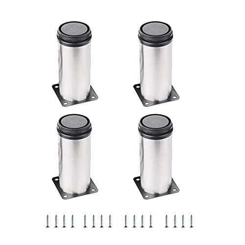 4 Piezas Gabinete de Muebles Patas de Metal Patas de Gabinete de Acero Inoxidable Patas de Muebles Ajustables Redondas para Sofás Armarios de Mesa Estantes (Color : Silver, Tamaño : 30cm/11.8in)