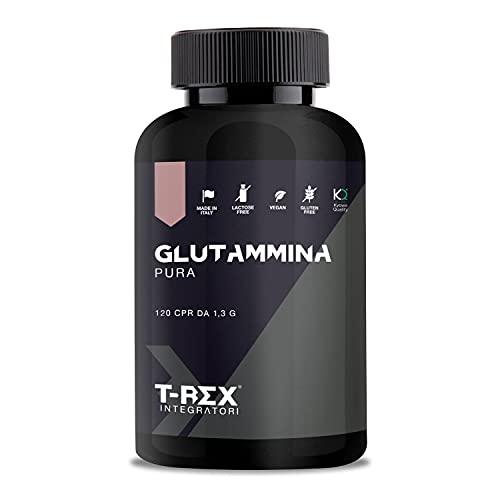 L-Glutammina Pura Kyowa® Quality | Stimola aumento GH ormone della crescita | Diminuisce fatica post allenamento | Integratore di Glutamina Amminoacido Made in Italy | 120 compresse T-Rex Integratori