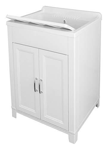 Adventa 9Q103C98 - Lavatoio in Resina per Interno/Esterno, Colore Bianco, 60 x 50 x 85 cm