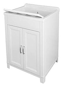 Adventa - Lavadero de Resina para Interior y Exterior, color Blanco, 60 x 50 x 85 cm