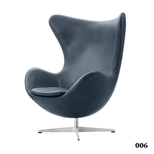 Woody24 Ledersessel Egg Chair-006 (anthrazit)