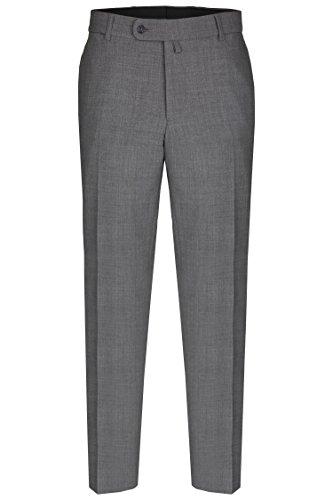 aubi: Herren Sommer Businesshose Anzughose Cool Finish Flat Front Modell 26 grau Größe 27