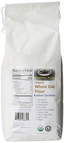 Healthy FuFu Organic Whole Oat Flour (5 lb) - Top Grade Finely Ground Oat Flour - Kosher