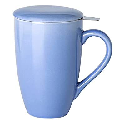 GBHOME Tea Mug with Infuser and Lid, 17 OZ Large Tea Strainer Cup with Tea Bag Holder for Loose Tea, Ceramic Tea Steeping Mug for Women/Men/Office/Home/Gift, Purple