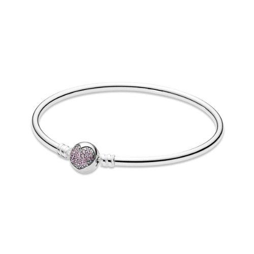 Pandora Damen-Armreif 925 Sterling Silber Zirkonia rosa 19 cm 590716PCZ-19