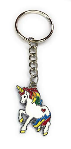 FizzyButton Gifts Enamel Rainbow Unicorn Charm Keyring Key Ring with Silver Tone Keychain