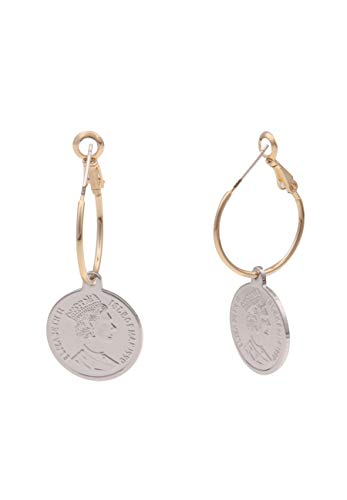 Leslii Damen-Ohrringe Elizabeth goldene Creolen Münzen-Ohrringe Royals Modeschmuck-Ohrringe 3,9cm Gold Silber