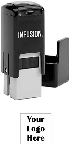Infusion 1 2 x 1 2 Custom Self Inking Rubber Logo Stamp Small Square Stamp Black product image