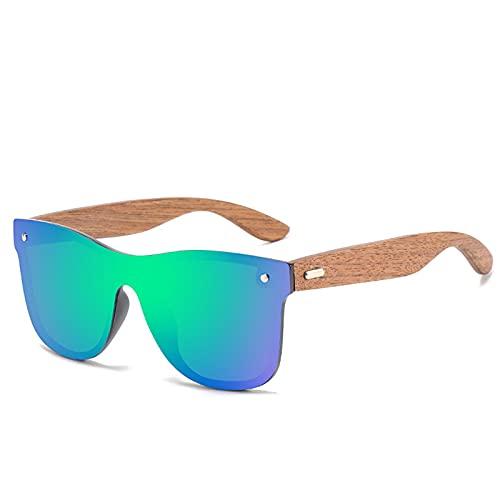 CYYMY Gafas de Ciclismo de Madera, Gafas Sol Deportivas, Gafas De Sol Polarizadas Hombre Mujer Protección UV Gafas Unisex para Ciclismo, Béisbol, Pesca, esquí,Verde
