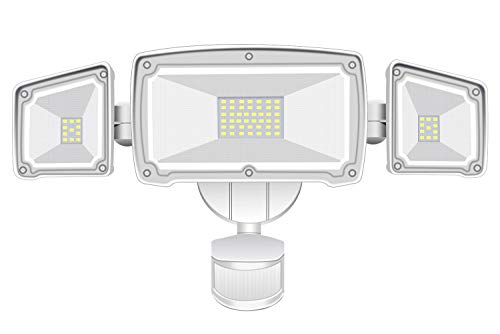 HARMONIC LED Security Lights 4000LM Super Bright Motion Sensor Light Outdoor, 42W 6000K, IP65 Waterproof, 3 Adjustable Heads Motion Activated Flood Light for Entryways, Stairs, Yard and Garage
