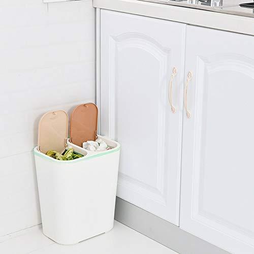 Cubo Basura,2 piezas Bote Basura para el hogar,Papelera rectángulo de plástico doble con botones Compartimiento de reciclaje Cubo de la basura cubo de la basura,12L,Basurero a pedal,33.5*30.5*21.0cm