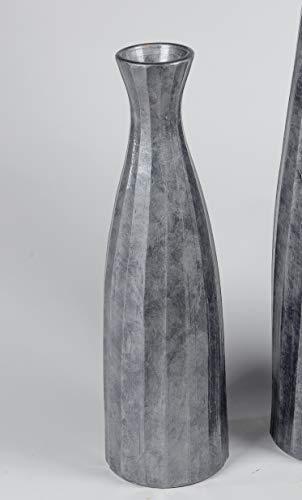 formano Bodenvase Flaschenvase Streifen konisch rund H. 60cm Silber grau W19