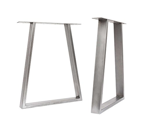 [HLC] 2 x gambe da tavolo a trapezio in stile industriale - Saldatura TIG con viti GRATUITE, guida al montaggio e protezioni per pavimenti - da 40 cm a 71 cm [Tavolo, Trasparente]