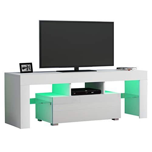 SXDY LED TV kabinet, Moderne Woonkamer Home Tv Kast met Kleur Led Rgb Lade Console-geschikt voor Woonkamer Hotels 130cm