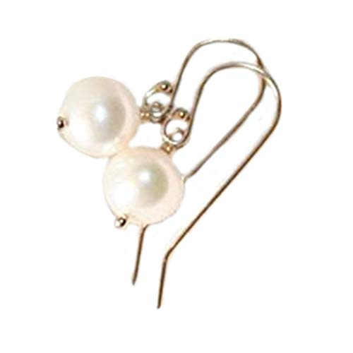 no see long time Simple White Pearl Dangle Earrings, Pearls, Gold filled, Small Pearl Earrings, Bridesmaid Gift