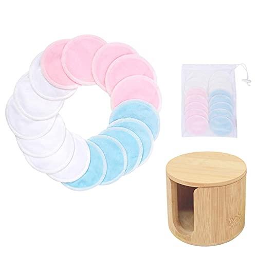 16 piezas de almohadilla de algodón reutilizable, almohadilla de removedor de maquillaje, almohadilla de maquillaje de bambú redondo lavable, cuidado del cuidado de la piel con caja de almacenamiento,