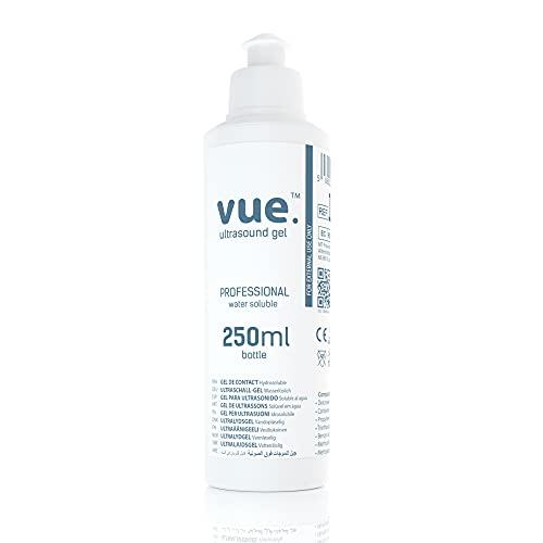 Vue Gel Utrasonido- 250ml / 1L / 5L Botellas de Gel transparente de Transmisión Conductiva para Máquinas de Ultrasonido y Doppler, EMS, TENS (Botella de 250ml)