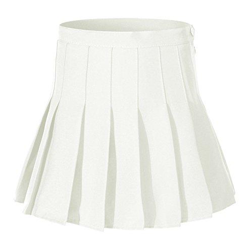 Beautifulfashionlife Women Pleated Golf Skirt High Waist Sport Skirts (L, White)