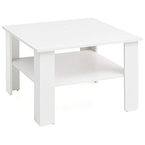 FineBuy Tavolino da caffè Bianco 60x42x60 cm Disegno Tavolo | Tavolo da Salotto Piazza | Divano Tavolo con Spazio di Stoccaggio