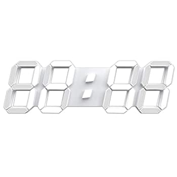 """3D LED Wall Clock 15"""" Remote Control Digital Timer Nightlight Watch Alarm Clock for Warehouse Office Home Living Room,12/24 Hour Display Brightness to Adjust   Include Power Adapter"""