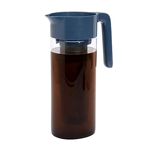 Goodful Airtight Cold Brew Iced Coffee Maker, Shatterproof Durable Tritan Plastic Construction, Leak-Proof Lid, Large Capacity with Premium Stainless Steel, 2.25 Qt, Blue