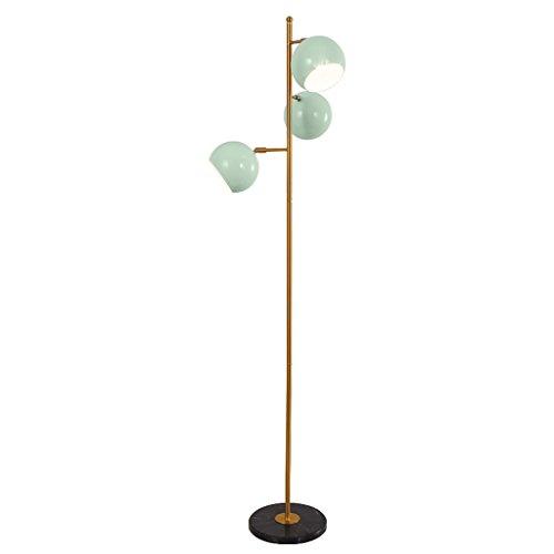 Staande lampen, staande lampen, creatieve persoonlijkheid, drie koppen, verticale single pole sofa, staande lamp, lichtblauw, halfrond, verstelbare hoek, lampenkap, woonkamer, eetkamer, slaapkamer