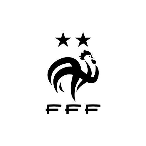TATOUTEX Logo Coq FFF 2 étoiles - Noir, Normal, L 20cm x H 30cm, Brillant